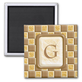 Checkerboard - Chocolate Marshmallow 2 Inch Square Magnet