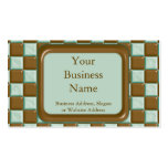 Checkerboard - Chocolate Mint Business Card Templates