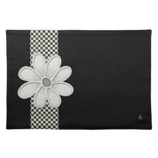 Checkerboard Daisy (Woven Cotton Placemat) Cloth Place Mat