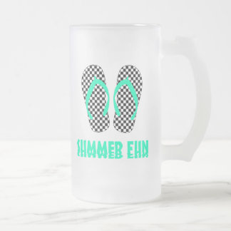 Checkerboard Flip Flops Frosted Glass Beer Mug