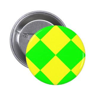 CHECKERBOARD GREEN! ~ 2 INCH ROUND BUTTON