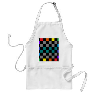 Checkerboard Grey Rainbow Turquoise Blue-Green Adult Apron