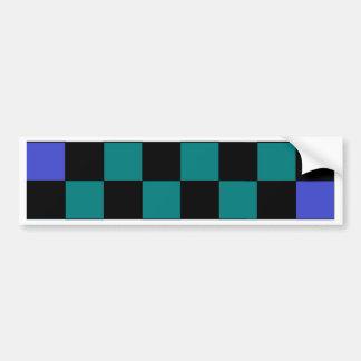 Checkerboard Grey Rainbow Turquoise Blue-Green Bumper Sticker