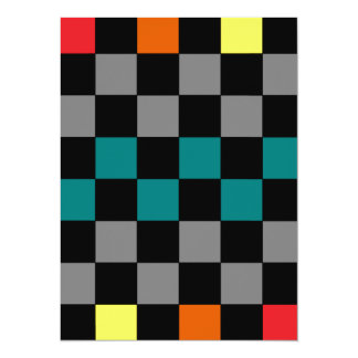 Checkerboard Grey Rainbow Turquoise Blue-Green Card