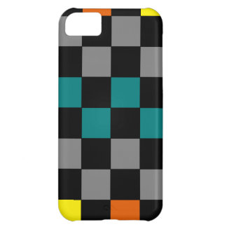 Checkerboard Grey Rainbow Turquoise Blue-Green iPhone 5C Covers