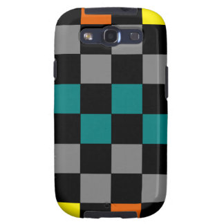 Checkerboard Grey Rainbow Turquoise Blue-Green Samsung Galaxy S3 Covers