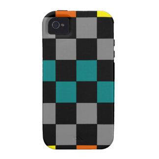 Checkerboard Grey Rainbow Turquoise Blue-Green Case-Mate iPhone 4 Covers