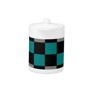 Checkerboard Grey Rainbow Turquoise Blue-Green