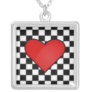 Checkerboard Heart Necklace
