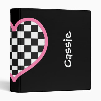Checkerboard Heart Personalized Back to School Binder