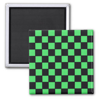 Checkerboard in Black & Green 2 Inch Square Magnet