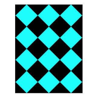 CHECKERBOARD IN BLUE ~ POSTCARD