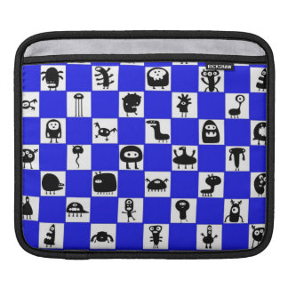 Checkerboard in Blue with Critter Squares iPad Sleeves