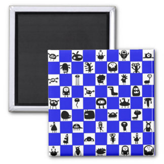 Checkerboard in Blue with Critter Squares Magnet