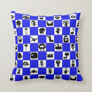 Checkerboard in Blue with Critter Squares Pillow