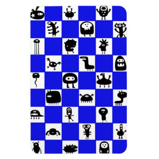 Checkerboard in Blue with Critter Squares Vinyl Magnets