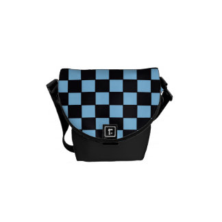 Checkerboard in Light Blue & Black Courier Bag