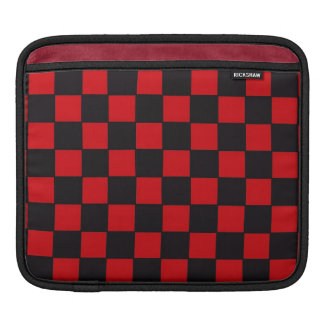 Checkerboard in Red and Black Sleeve For iPads