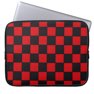 Checkerboard in Red and Black Laptop Computer Sleeve