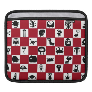 Checkerboard in Red with Monster Critters Sleeve For iPads