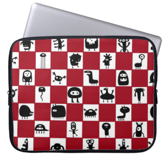 Checkerboard in Red with Monster Critters Computer Sleeves