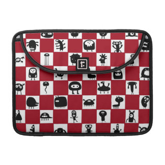 Checkerboard in Red with Monster Critters Sleeve For MacBooks