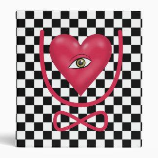 Checkerboard love you forever Eye heart U eternity Binder