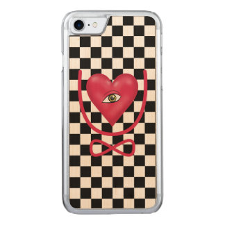 Checkerboard love you forever Eye heart U eternity Carved iPhone 7 Case