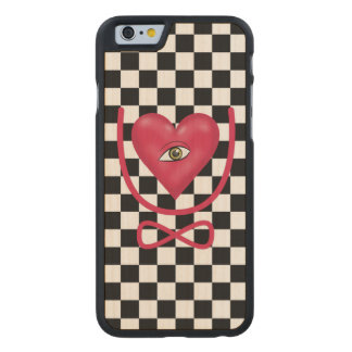 Checkerboard love you forever Eye heart U eternity Carved Maple iPhone 6 Case