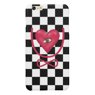 Checkerboard love you forever Eye heart U eternity Glossy iPhone 6 Plus Case