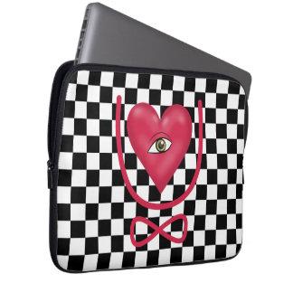 Checkerboard love you forever Eye heart U eternity Laptop Computer Sleeve