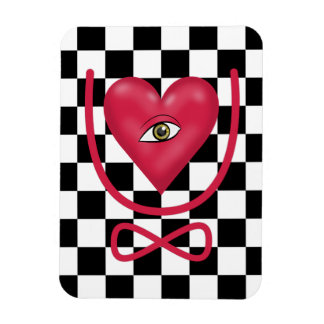 Checkerboard love you forever Eye heart U eternity Magnet