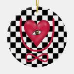 Checkerboard love you forever Eye heart U eternity Ornaments