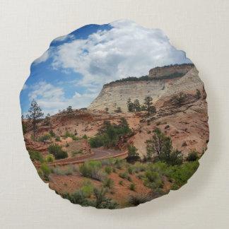 Checkerboard Mesa Zion National Park Utah Round Pillow