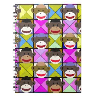 Checkerboard Monkeys Spiral Note Books