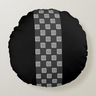 Checkerboard of Grays Band Round Throw Pillow