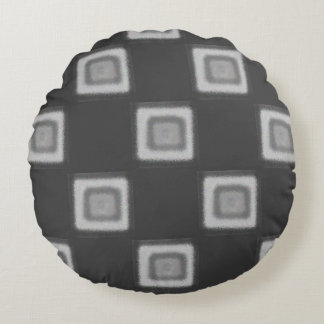 Checkerboard of Grays Round Throw Pillow