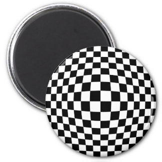 Checkerboard optical illusion 2 inch round magnet