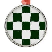 checkerboard pattern metal ornament