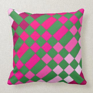 Checkerboard Pattern Pink Green CricketDiane Throw Pillow