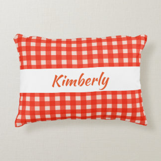 Checkerboard Pattern Red and White Accent Pillow