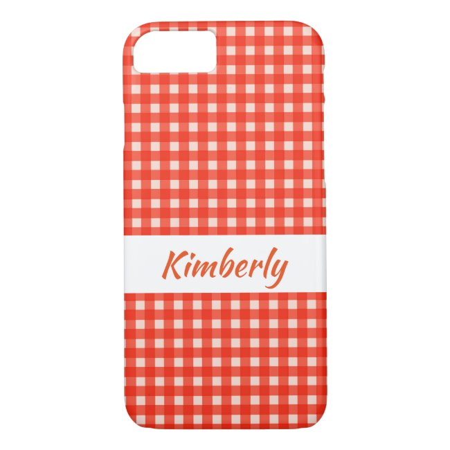 Checkerboard Pattern Red and White iPhone 8/7 Case