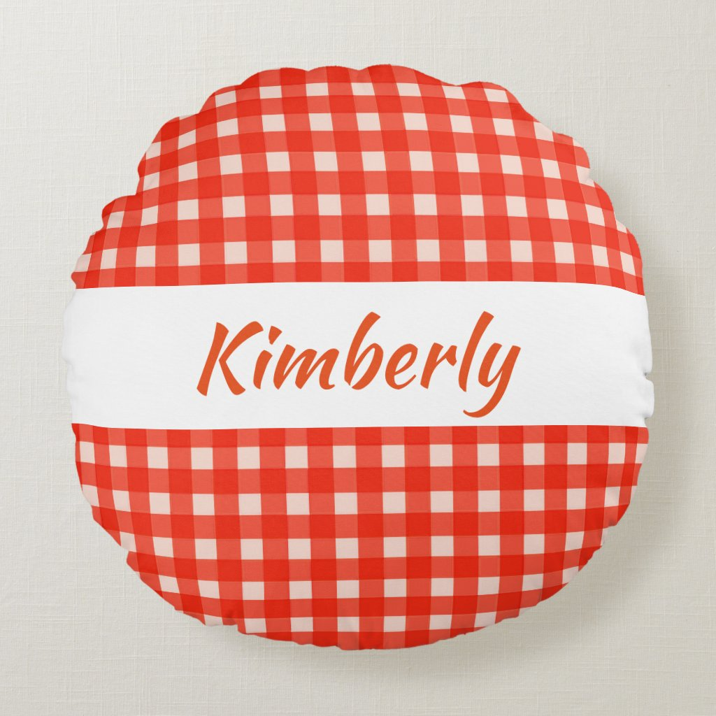 Checkerboard Pattern Red and White Round Pillow