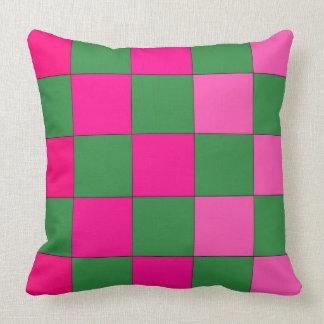 Checkerboard Pop Art Pink Green CricketDiane Throw Pillow