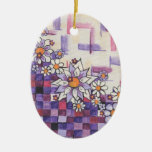 Checkerboard Purple Daisy Spray Double-Sided Oval Ceramic Christmas Ornament