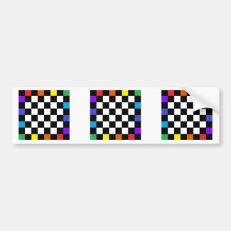 Checkerboard Rainbow Bumper Sticker