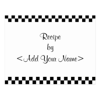 Checkerboard Recipe Cards 4 x 6 Post Card