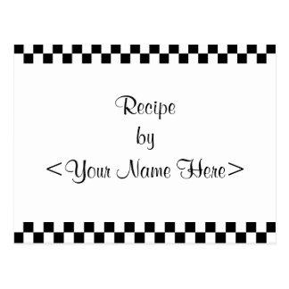 Checkerboard Recipe Cards 4 x 6 Postcards