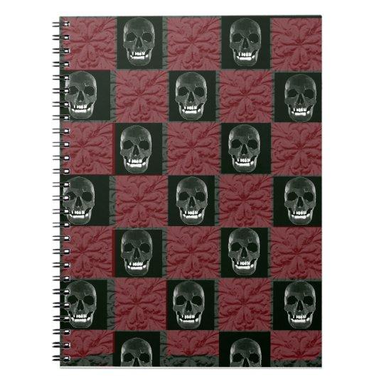 checkerboard skulls notebook