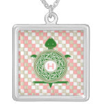 Checkerboard Turtle Monogram Silver Plated Necklace